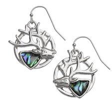 Paua Shell Two Tone Blue/Green Stag Deer Head Silver Hook Dangle Earrings