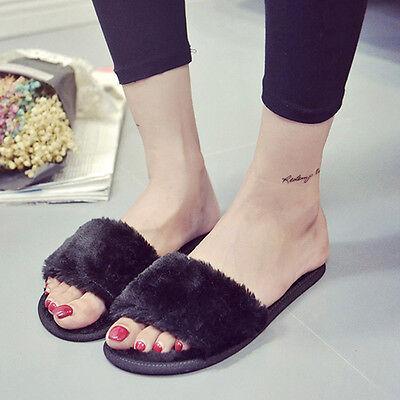 Mode Damen Weiche Pelz Slide Sandalen Pantoffeln Schuhe Open Toe Flip*