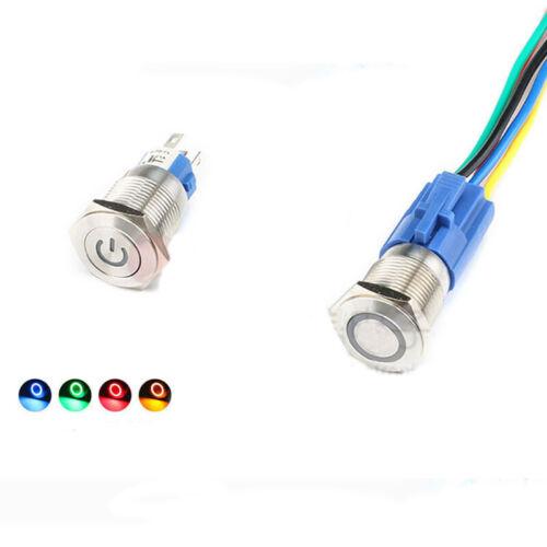 22mm 6V//12V//24V//220V Car Boat Instrument LED Metal Waterproof Push Button Switch
