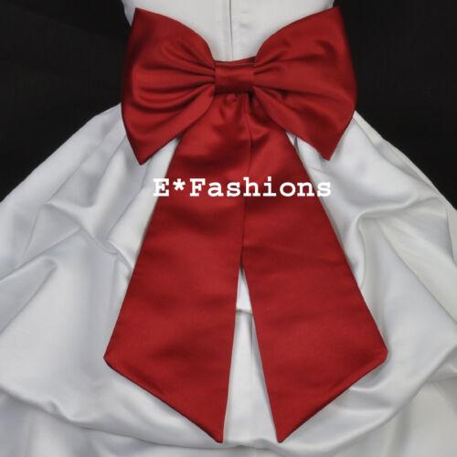 APPLE RED TIE BOW SASH FOR CHRISTMAS FLOWER GIRL DRESS sz S M L 2 4 6 8 10 12 14