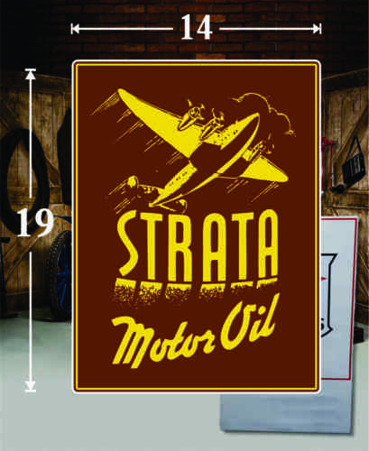 """19/"""" X 14/"""" STRATA AIRCRAFT OIL GAS VINYL DECAL LUBESTER OIL PUMP CAN LUBSTER 1"""