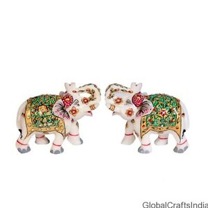 3 White Marble Elephant Sculpture Hand Painted Carving Home Decor