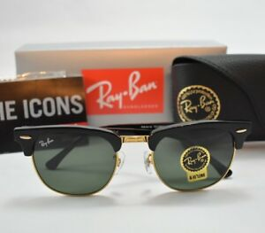 Image is loading Ray-Ban-Clubmaster-Sunglasses-Black-Frame-Crystal-Green- db9c58ca91