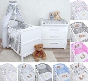 Babyzimmer Kinderzimmer Babybett Wickelkommode Weiß Bettwäsche
