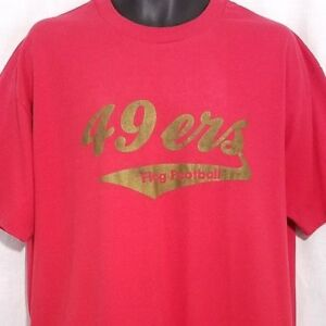 San-Francisco-49ers-Flag-Football-T-Shirt-Vintage-80s-Coach-Made-In-USA-Size-XL
