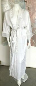 VINTAGE Miss Christian Dior White Satin Robe Lace Open Front Nightgown Small