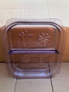 Vintage-Purple-Depression-Glass-Divided-Square-Plate-Dish-With-Etched-Design
