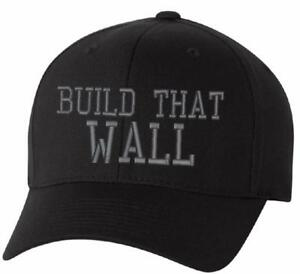 Donald Trump BUILD THE WALL HAT adjustable or flex fit embroidered ... 1afad0b0d314