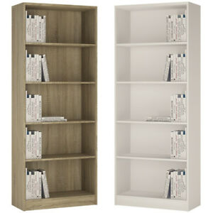 Crescita-Tall-Wide-Bookcase-in-Oak-or-Pearl-White-Living-Display-Cabinet-Bed