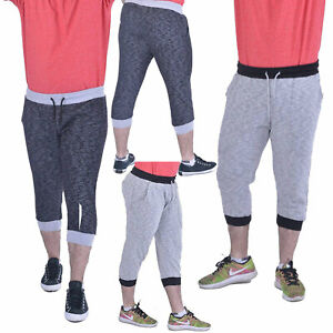 Mens-Unisex-Casual-Sport-3-4-Shorts-MARL-Contrast-Slub-Yarn-Capri-Jogging-Trouse