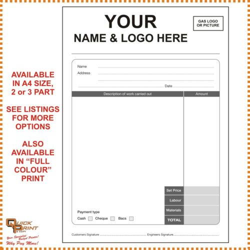 """2 PART NCR 5 x A4 /""""GAS ENGINEER INVOICE/""""  PADS PERSONALISED IN BLACK PRINT"""