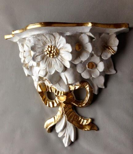Support mural blanc-Gold Baroque 28x12 Armoire Antique Miroir Mural console étagère cp81
