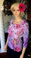 Coldwater Creek Xs Womens Top 4-6 Pink Purple Ruffle Shirt Floral Whirl Tee