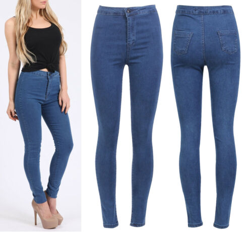 Womens Celebrity Inspired Cheap Casual Holiday High Waisted Skinny Jeans UK 6-16