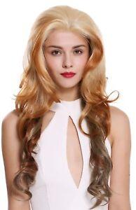 Details About Wig Ladies Wig Front Lace Long Wavy Parting Balayage Blonde Platinum Braun