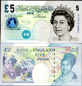 GREAT BRITAIN ENGLAND 5 POUNDS ND 2004 SIGN A. BAILEY P 391 UNC