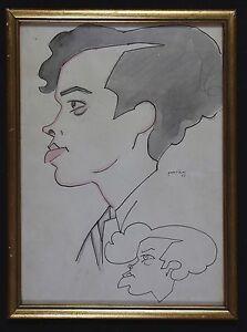 Alejandro-PARDINAS-CABRE-1890-1969-Portrait-de-profil-dessin-a-l-039-encre-Cuba