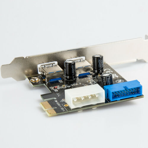 2 Port USB 3.0 PCI-E Expansion Card 19pin Header 4pin IDE Power ConnectorPLCA