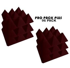 Acoustic-Foam-Pro-Pack-Plus-96pcs-Burgundy-Pyramid-12X12x4-034-Studio-Soundproofing