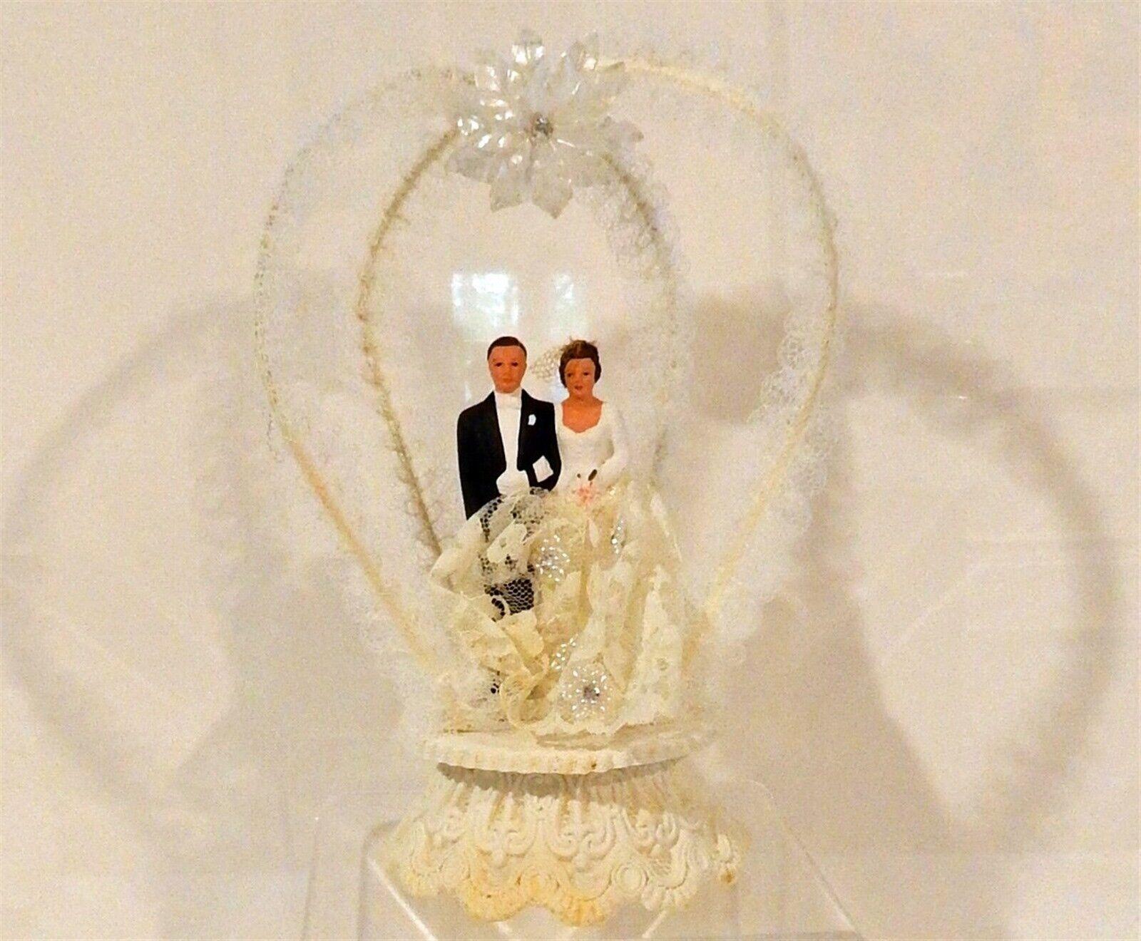 Vintage 1959 Large Composition Wedding Bride & Groom Wedding Cake Topper & Box