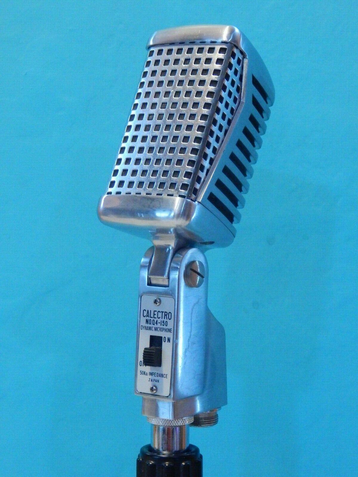 Vintage 1960S Calectro Q4-150 Microphone & Desk Stand Antique Deco Shure Prop