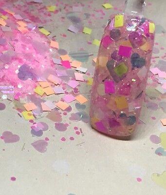 glitter mix nail art acrylic gel   WHISPERING HEARTS