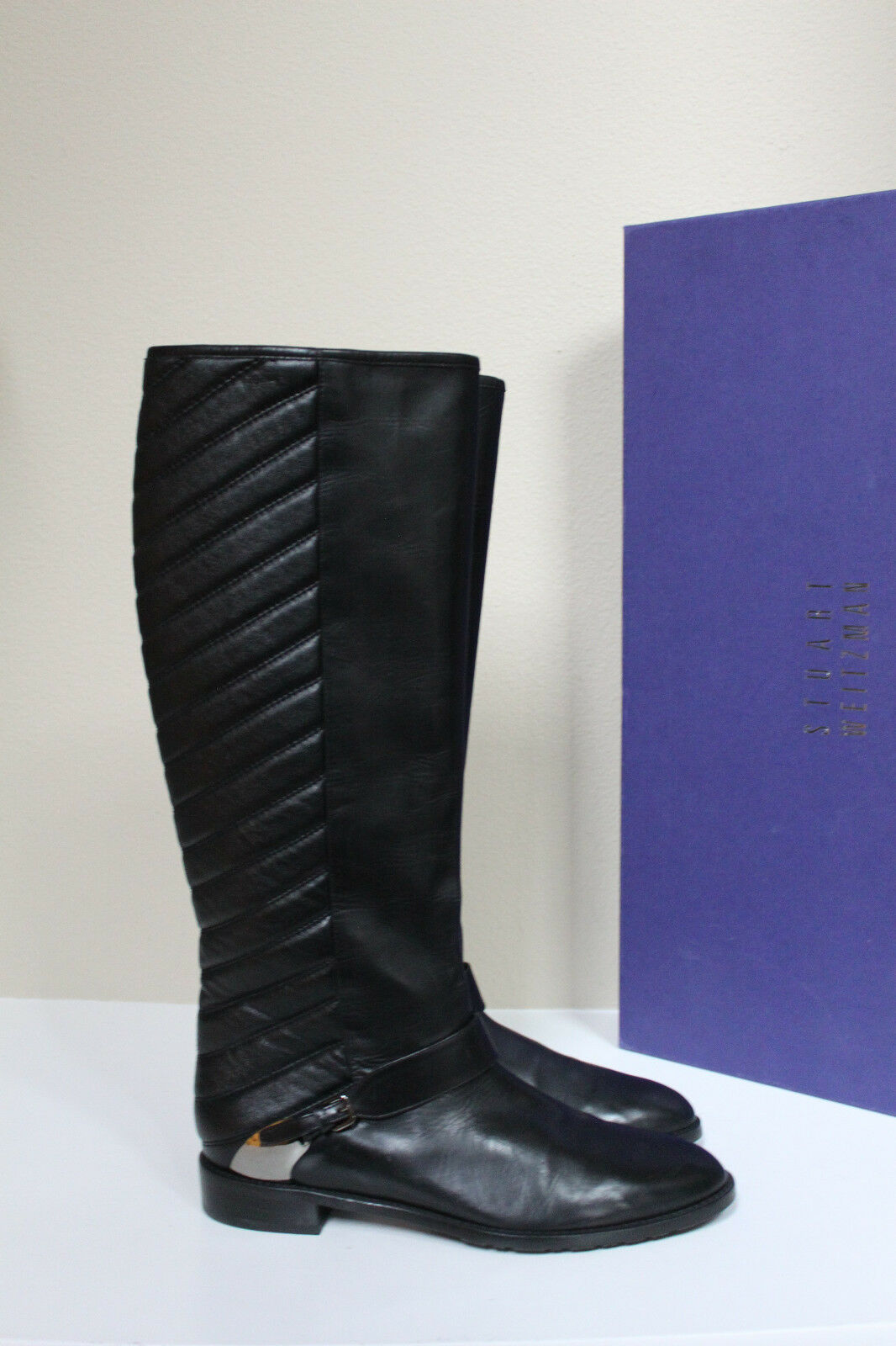 New 9 Stuart Weitzman Raceway Black Leather Over the Knee Wedge Heel boot Shoes