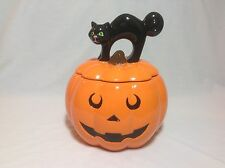 Cheryl's Ceramic Large Cookie Jar Halloween Pumpkin with Black Cat