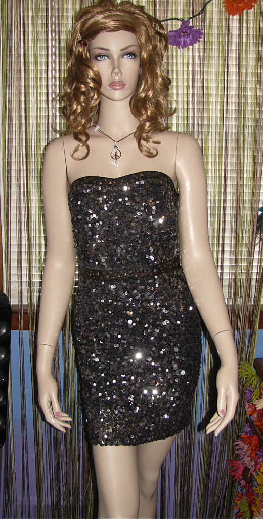 NEW  FREE PEOPLE Sparkly Sexy Stretchy Rare BEADS & LEATHER BODYCON DRESS 4