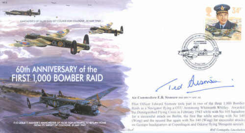 MF3c WWII WW2  Avro Lancaster RAF cover signed SISMORE DSO DFC **