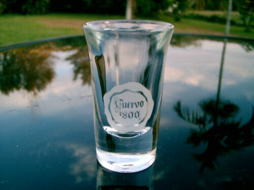 "CUERVO 1800 HEAVY CURVED SHOT  GLASS 3 /"" FROSTED LOGO"
