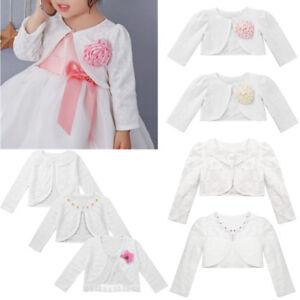 314a6763ea08 Kids Baby Girls Dress Bolero Jacket Dress Cover Lace Shrug Long ...
