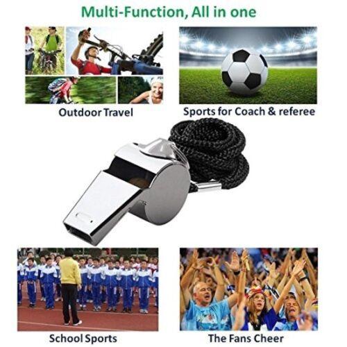 Gostscp Premium En Acier Inoxydable Whistle Set 2 Cordon Arbitre Sports Extra Loud