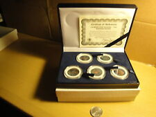 Set of 5 1999 Colorized State Quarters Velvet Lined Box w COA Carboard Outer Box