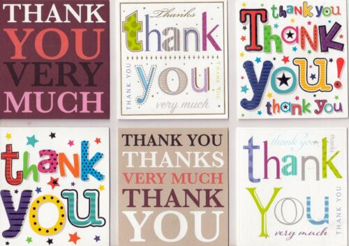 24 Various Thank-You Notelet Cards Word designs Greetin Postcards /& Envelopes
