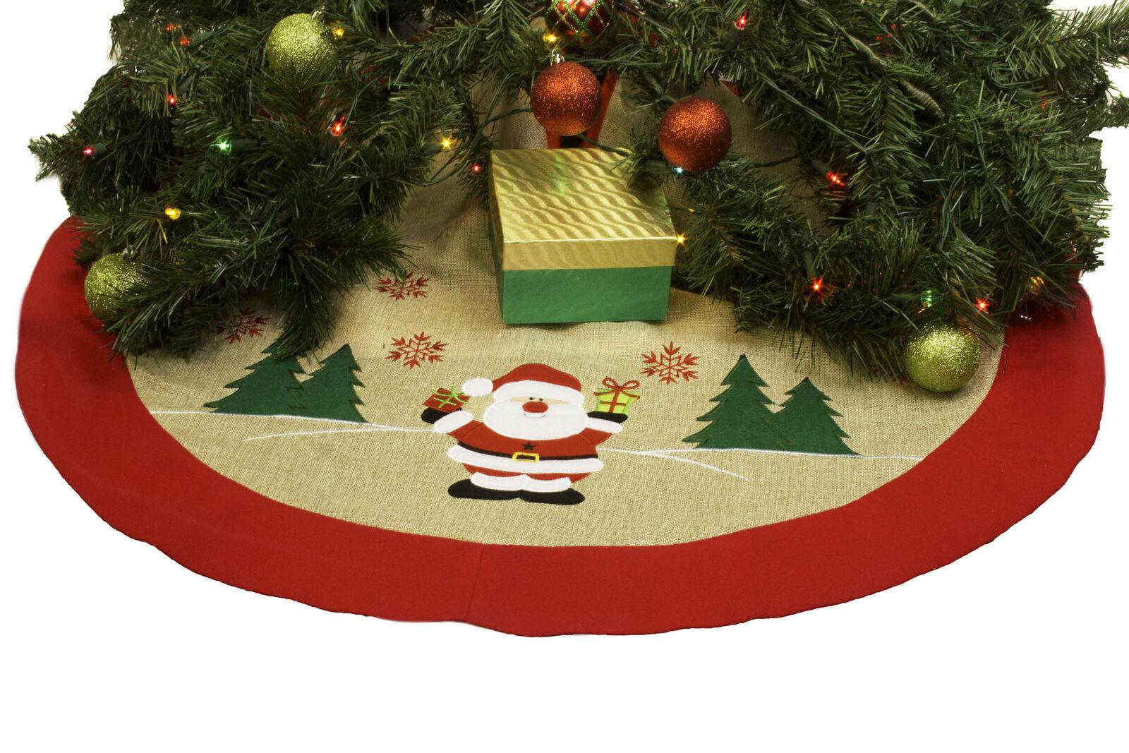 Burlap Christmas Tree Skirt 36 Xmas Tree Skirt Happy Santa Claus For Sale Online