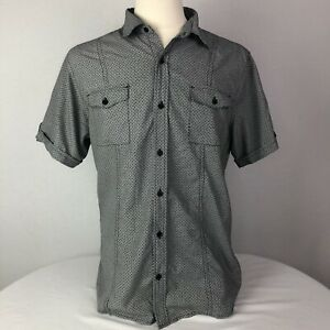 Hydrogen-Men-gray-short-sleeve-buttoned-down-shirt-Sz-Medium