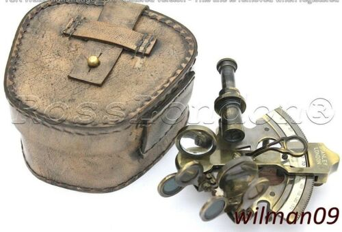 Antique Brass Navigation Sextant in Genuine Leather case