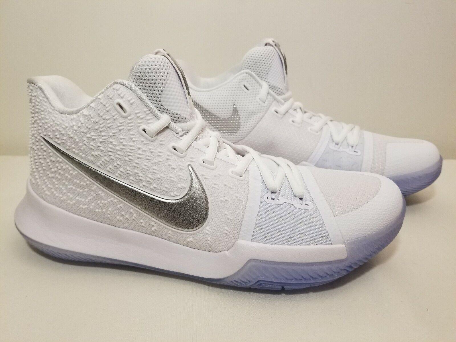 new style 66faa e3f7b NIKE KYRIE 3 III Triple White Chrome Ice 852395-103 Size 8.5 Basketball Shoe
