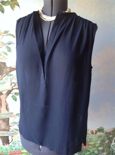Vince Blue Sleeveless Shirred Shoulder Crepe Button Front Top Blouse Size 12 New