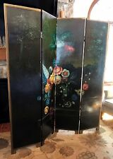 """Antique Victorian 70""""H Handpainted Floral Room Divider 4-Panel Screen c. 1910"""
