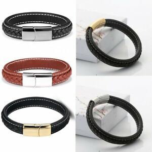 Fashion-Men-039-s-Punk-Stainless-Steel-Chain-Wristband-Clasp-Cuff-Bangle-Bracelet