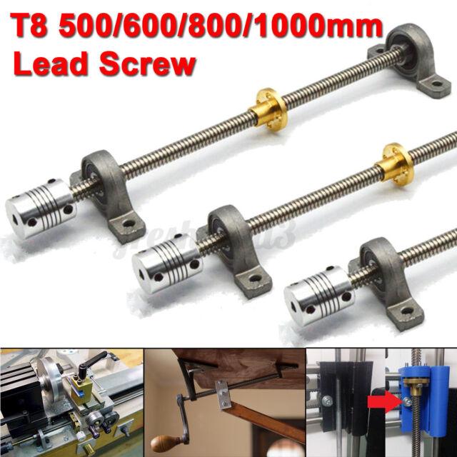 3D Printer T8 Lead Screw + 2 Mounted Ball Bearing + 1 Shaft Coupling + 1 T