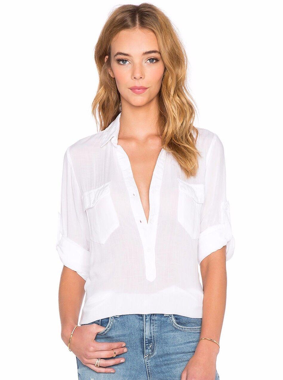 Nouveau CLOTH & Stone SZS Deux Poche Manches Longues Tunique Shirt Top En Weiß