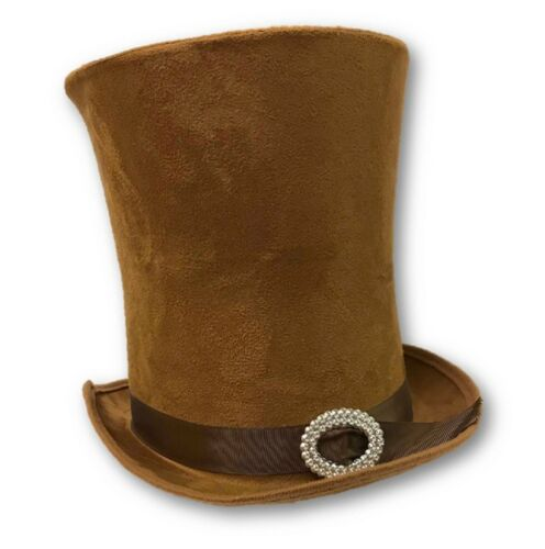 Deluxe Steampunk Mad Hatter Brown Faux Suede Top Hat Adult Costume Accessory