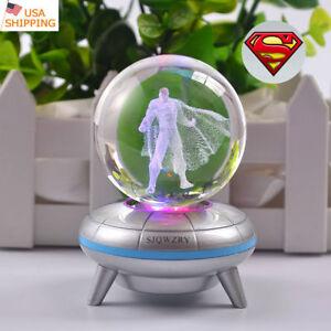 Superman Super Hero 3D LED Crystal Pokeball Night Light Table Desk Lamp Gift