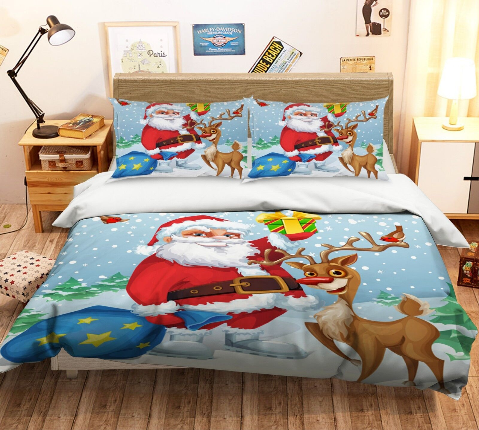 3d Christmas Xmas 564 Bed Cushion Covers Stitch Duvet Cover Set Single DE