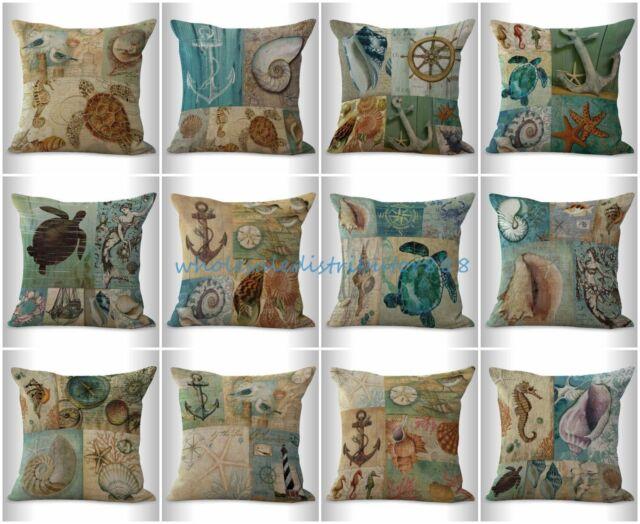 4pcs Cushion Covers Beach Starfish Conch Shell Nautical Throw Pillow Slipcovers Ebay