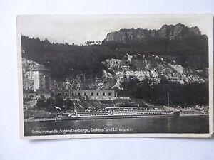 Ansichtskarte-Schwimmende-Jugendherberge-Sachsen-Lilienstein-50-60er-Schiff