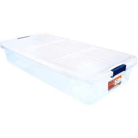 Hefty 52-Quart Latch Box for Under the Bed White Lid and W